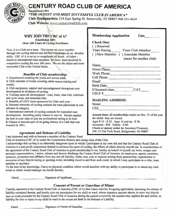 CRCofA Membership Application